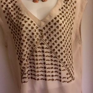 SEARCH FOR SANITY copper ART DECO beaded blouse